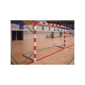 Juego de porterías de balonmano de competición, de aluminio de 80 x 80 mm. con arquillos laterales